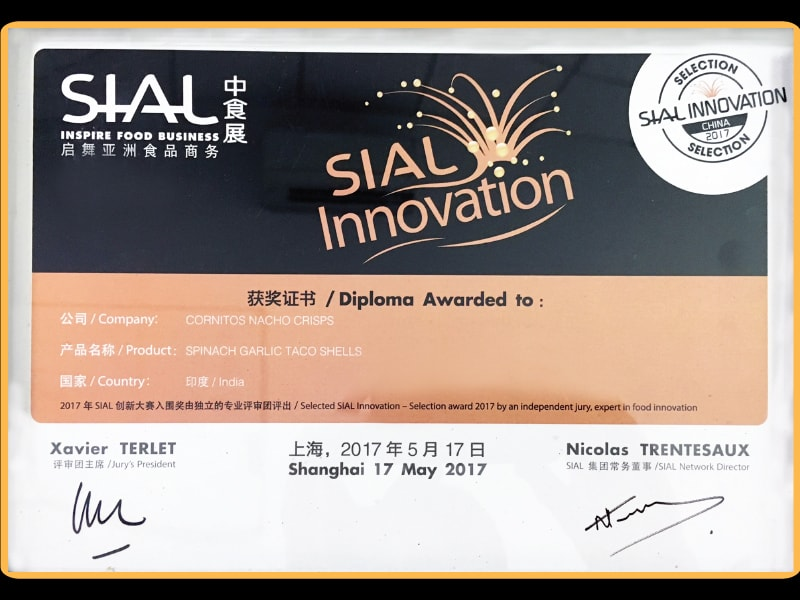 Awarded SIAL Innovation For Spinach Garlic Taco Shells