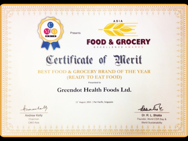 Awarded at CMO Asia For Best  Food & Grocery Brand Of The Year (Ready To Eat Food)