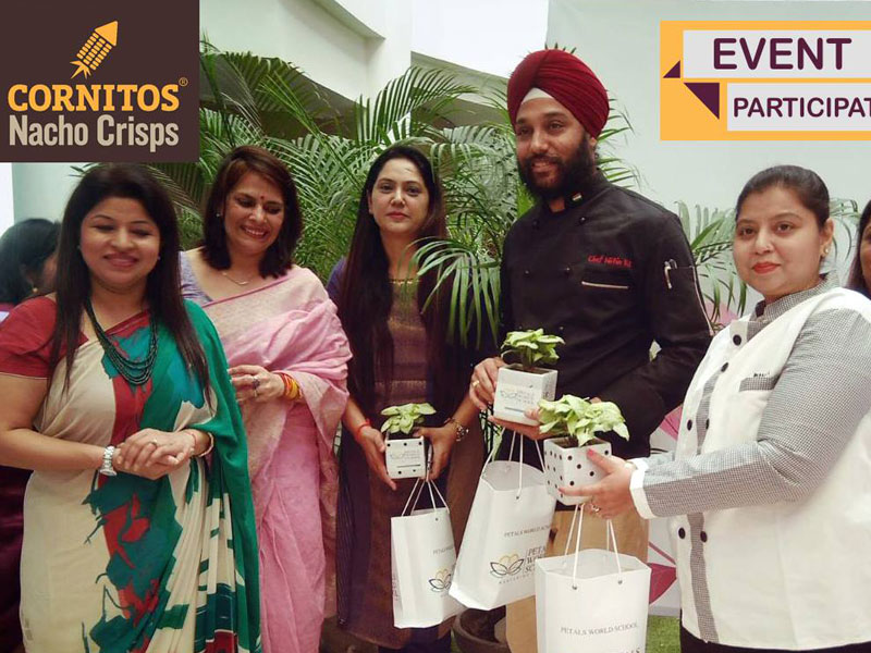 Chef Nitin Pal with Contestants of Cornitos Nacho Challenge in Petals World School, Kaushambi, Ghaziabad for Mothers Day Celebration